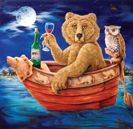 painting-bear in a boat with a wine glass